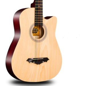Acoustic Box Guitar With Capo, Bag And Strap - Natural