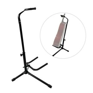 KEY FEATURES Floor stand for acoustic guitar, electric guitar, bass, etc. High-quality metal material, durable and stable. Soft EVA covers the contact part of instrument and stand, no scratch to your guitar. Adjustable height for string instrument with different size. Detachable and foldable design, easy to install and convenient to carry. Floor stand for acoustic guitar, electric guitar, bass, etc.