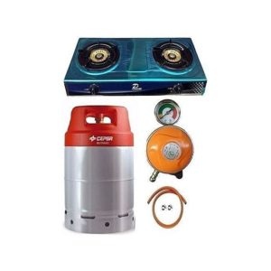 Cepsa 12.5 Gas Cylinder With 2 Burner Cooker, Regulator And Hose