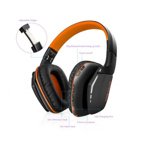 Technologg Headset KOTION EACH B3506 Bluetooth Headphones Wireless Headset Foldable Game Headset -orange